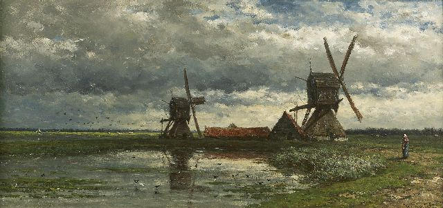 Roelofs W.  | A polder landscape with windmills, oil on panel, 28.0 x 59.0 cm, signed l.r. and painted in 1880-1885
