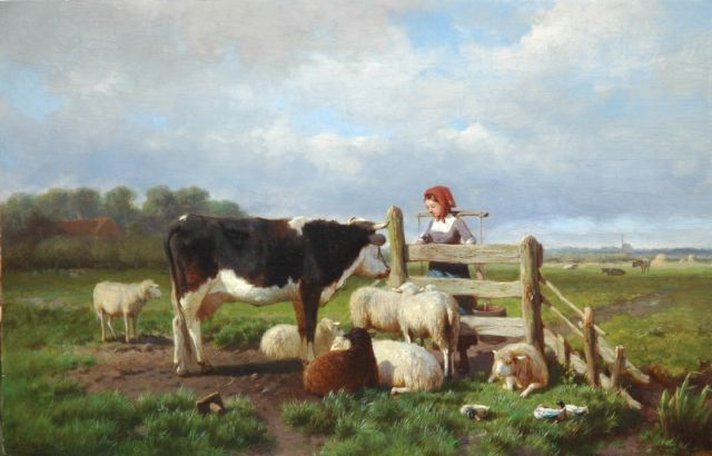 Anton Mauve | A milkmaid and cattle by a fence, oil on panel, 31.7 x 50.0 cm, signed l.l.