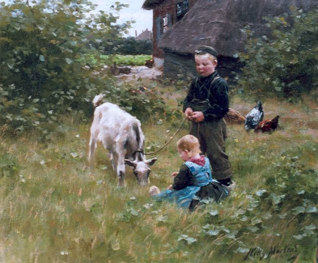 Willy Martens | In the farmyard, oil on canvas, 47.4 x 56.3 cm, signed l.r.