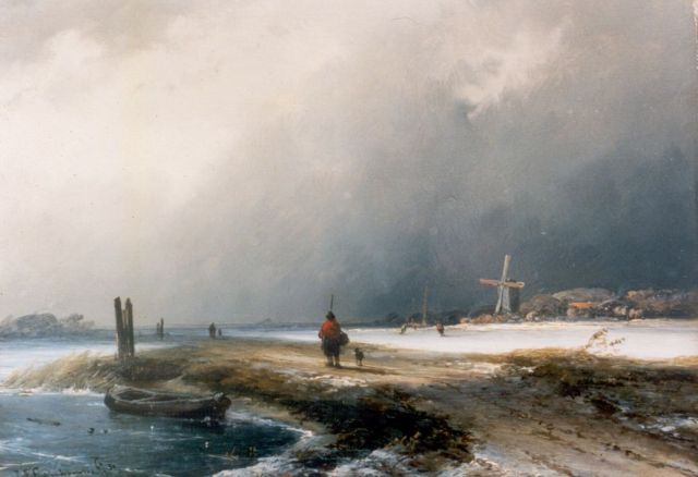 Johannes Franciscus Hoppenbrouwers | A traveller in a snow-covered landscape, oil on panel, 19.2 x 26.4 cm, signed l.l. and dated '50