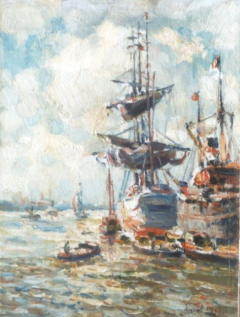 Evert Moll | Ships and a three-master in the Rotterdam Harbour, oil on canvas laid down on panel, 24.9 x 18.9 cm, signed l.r.