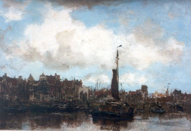 Jacob Maris | Shipping in the harbour of Amsterdam, oil on canvas, 31.2 x 44.6 cm, signed l.r.