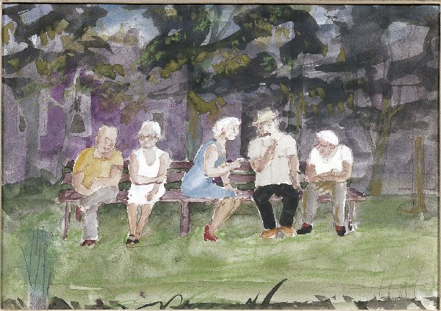 Harm Kamerlingh Onnes | Figures in a park, pencil, pen, chalk and gouache on paper, 21.0 x 29.1 cm, signed l.l. with monogram and dated '80