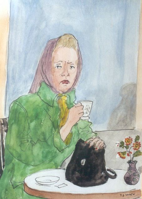 Harm Kamerlingh Onnes | A cup of tea, felt-tip pen, ballpoint and watercolour on paper, 18.5 x 14.1 cm, signed l.r. with monogram and dated '73