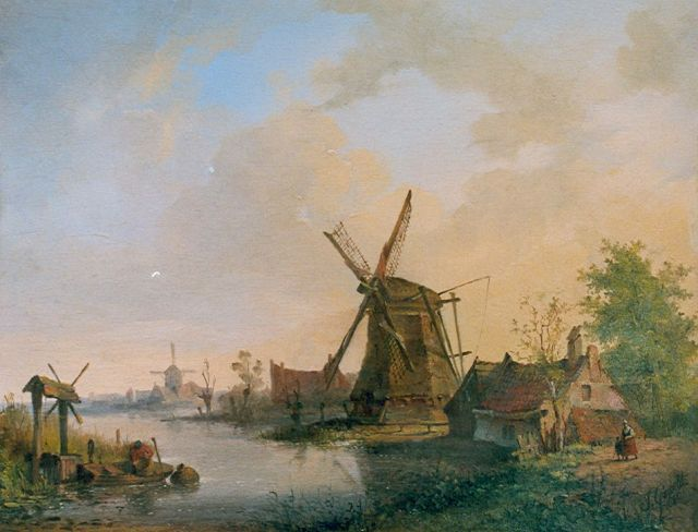 Jan David Geerling Grootveld | Windmills along a waterway, oil on panel, 20.4 x 26.2 cm, signed l.r. and dated 1840