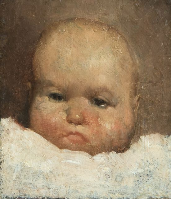 Berg W.H. van den | Portrait of a baby, oil on panel 10.3 x 9.2 cm