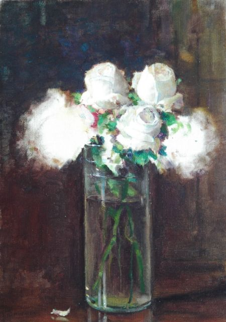 Jules Alexis Muenier | White roses in a glass vase, oil on canvas, 46.2 x 33.2 cm, signed l.l.