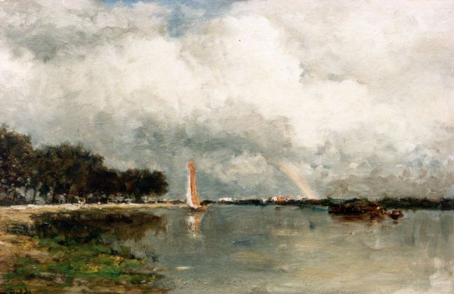 Roelofs W.  | A river landscape with a rainbow, oil on canvas, 47.4 x 74.0 cm, signed l.l.