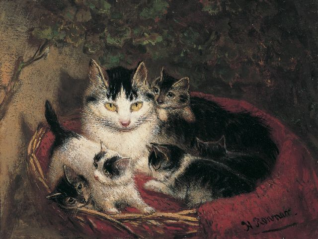 Henriette Ronner-Knip | The proud mother, oil on panel, 10.9 x 14.1 cm, signed l.r.