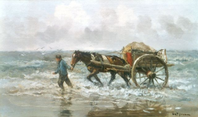Willem George Frederik Jansen | A shell-fisher at work, oil on canvas, 60.2 x 100.2 cm, signed l.r.
