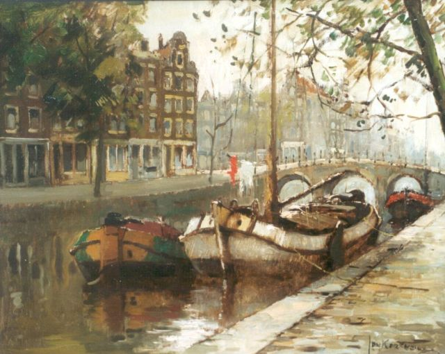 Jan Korthals | Moored boats in a canal, Amsterdam, oil on canvas, 40.3 x 49.9 cm, signed l.r.