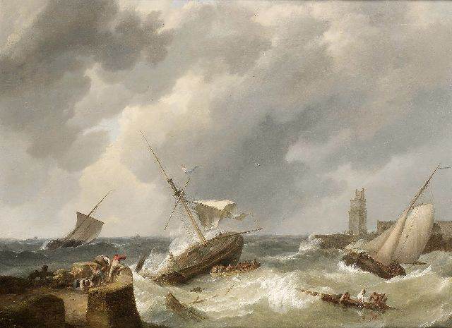 Johannes Hermanus Koekkoek | Dutch barges caught in a squall, oil on canvas laid down on panel, 63.5 x 85.0 cm, signed l.l. and dated 1838