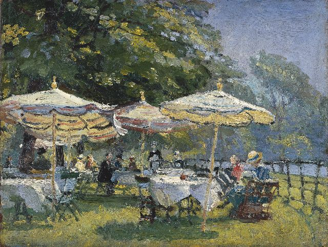 Evert Moll | Afternoon tea on a terrace, oil on painter's board, 26.6 x 35.3 cm