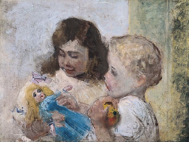 Paul Rink | Children with a doll, oil on canvas, 49.5 x 65.0 cm, signed on the reverse