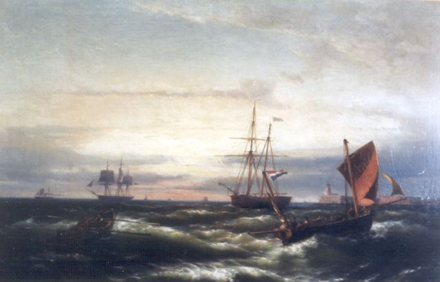 Hermanus Koekkoek jr. | At sea in a storm, oil on canvas, 58.4 x 91.7 cm, signed l.r.