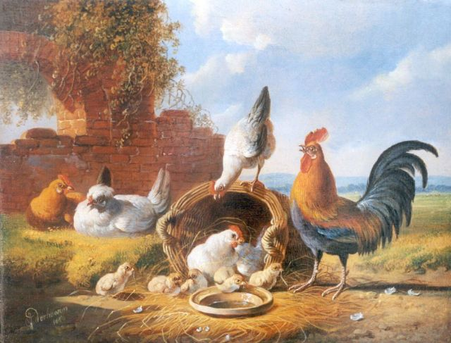 Albertus Verhoesen | Poultry in a classical landscape, oil on panel, 18.6 x 24.1 cm, signed l.l. and dated 1876