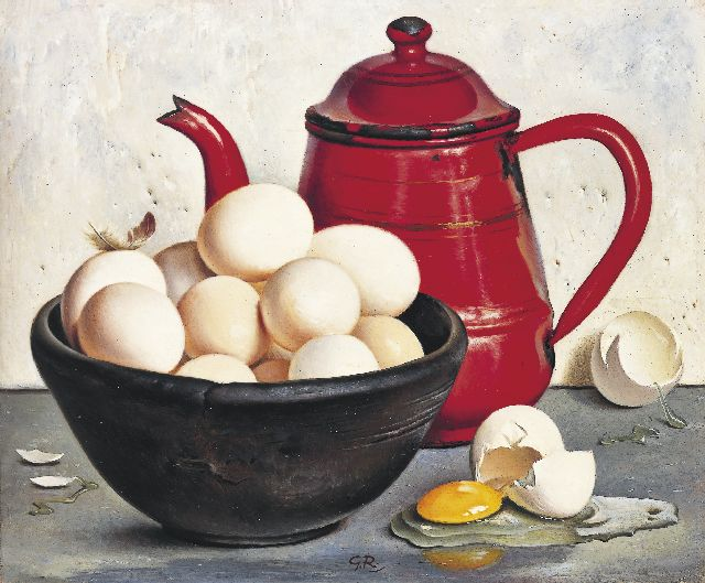 Gé Röling | A still life with eggs, oil on board, 24.9 x 30.0 cm, signed l.c. with initials and on the reverse