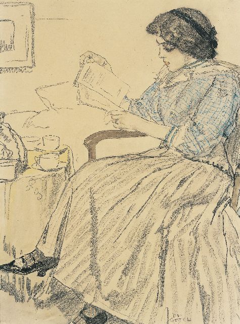 Leo Gestel | An elegant lady reading, chalk and watercolour on paper, 36.0 x 27.3 cm, signed l.r.