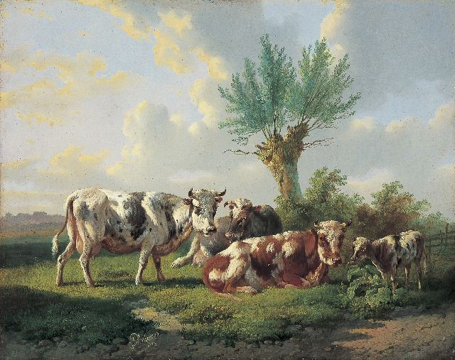 Albertus Verhoesen | Cattle in a meadow, oil on panel, 31.8 x 40.0 cm, signed c.l. and dated 1873