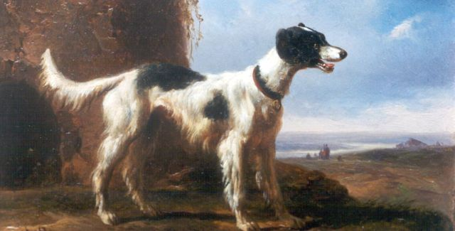 Wouterus Verschuur | A sporting dog, oil on copper, 8.6 x 14.0 cm, signed l.l. with monogram and dated 1847