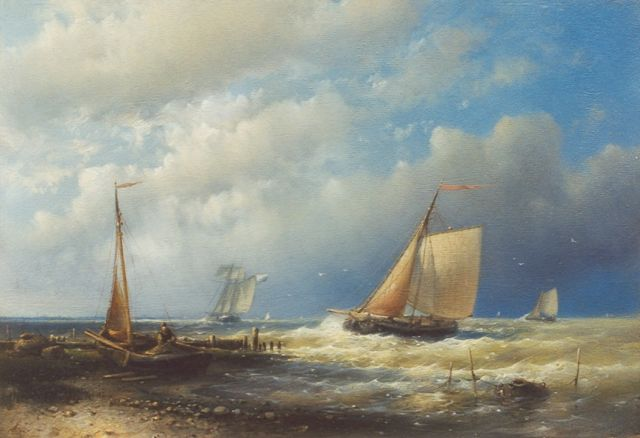 Abraham Hulk | Coming ashore, oil on panel, 17.9 x 26.2 cm, signed l.l.