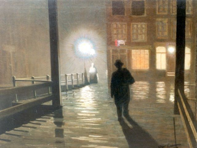 Arjen Galema | Encounter by night, oil on canvas, 64.5 x 83.7 cm, signed l.r. and dated '49