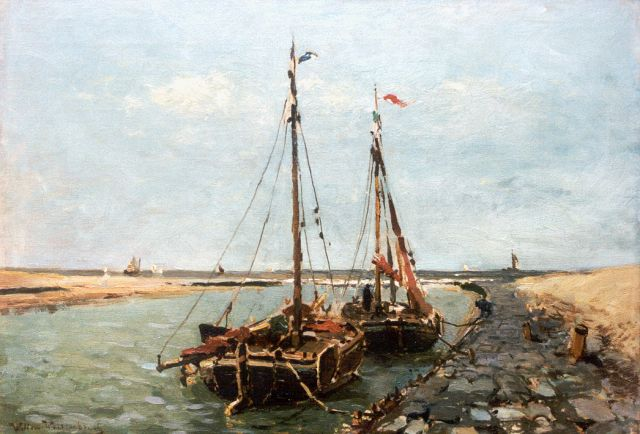 Weissenbruch W.J.  | Moored flatboats, Katwijk aan Zee, oil on canvas 41.7 x 58.6 cm, signed l.l.