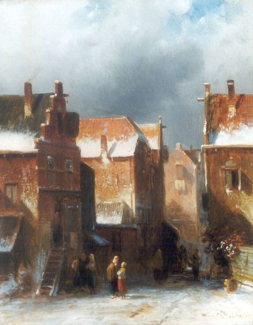 Charles Leickert | Figures in a snow-covered town, oil on panel, 27.2 x 21.6 cm, signed l.r.
