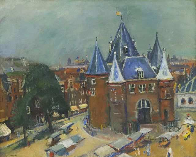 Wiegers J.  | The Nieuwmarkt in Amsterdam, with the Waag, oil on canvas, 45.3 x 55.3 cm, signed l.l. and dated '35