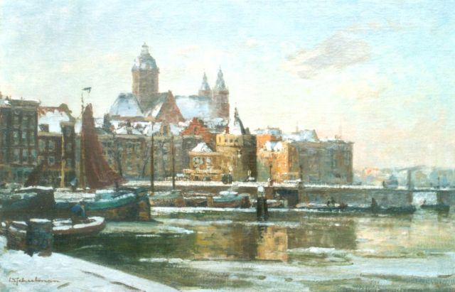 David Schulman | A view of the Gelderse kade with the St. Nicolaaskerk in the distance, Amsterdam, oil on canvas, 47.5 x 73.0 cm, signed l.l.