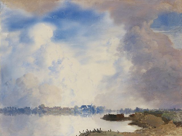 Jan Voerman sr. | A view of the IJssel, Hattem, oil on panel, 52.0 x 69.0 cm, signed l.r.