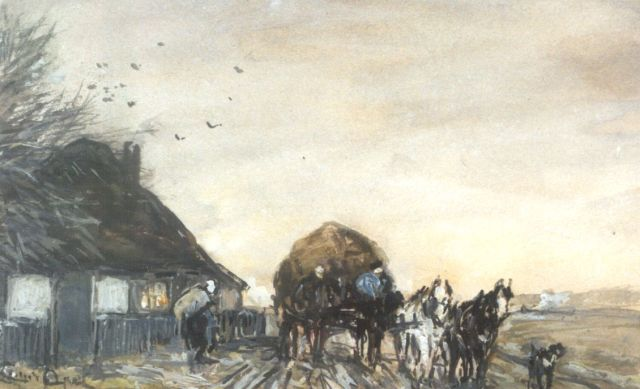 Louis Apol | A hay-wagon near a farm, watercolour and gouache on paper, 11.1 x 17.7 cm, signed l.l.