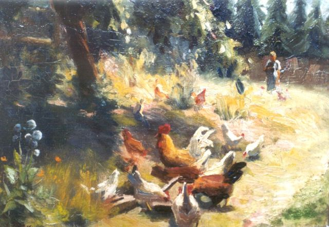 Evert Pieters | Chickens in an orchard, oil on board, 26.7 x 35.3 cm, signed l.l.