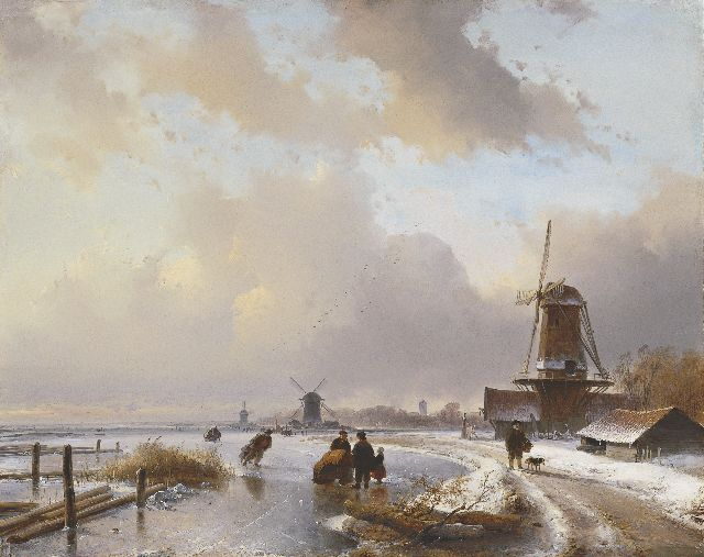 Andreas Schelfhout | Skaters with a sledge on a frozen river, oil on panel, 40.5 x 50.9 cm, signed l.r. and painted in 1837