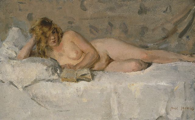 Israels I.L.  | A reclining nude (Sjaantje van Ingen), oil on canvas, 40.3 x 64.6 cm, signed l.r.