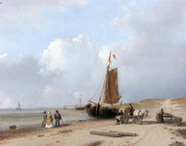 Petrus Marius Brouwer | Unloading the catch on the beach, oil on panel, 16.7 x 20.6 cm, signed l.l.