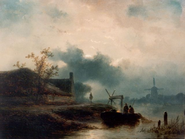 Johannes Franciscus Hoppenbrouwers | A moonlit river landscape, oil on panel, 18.0 x 23.5 cm, signed l.l. and dated '56