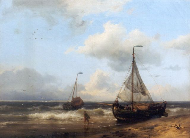 Hermanus Koekkoek | A coastal scene with anchored fishing boats, oil on canvas, 24.0 x 32.4 cm, signed l.r. and dated 1849