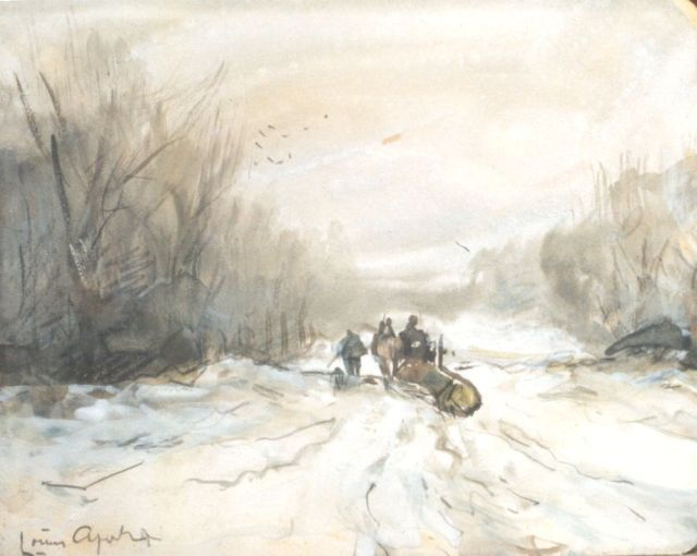Louis Apol | A 'Mallejan' in winter, black chalk, watercolour and gouache on paper, 10.9 x 13.8 cm, signed l.l.
