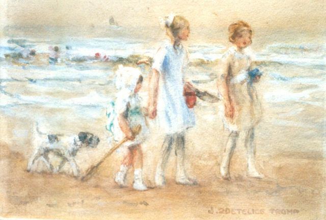 Jan Zoetelief Tromp | On the beach, watercolour on paper, 16.1 x 23.4 cm, signed l.r.
