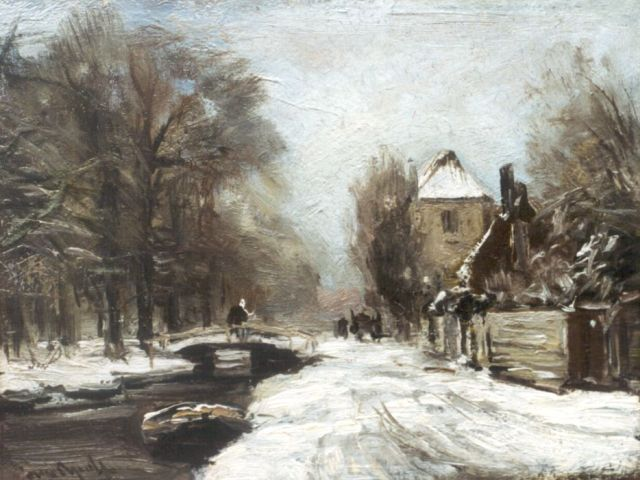 Louis Apol | A traveller on a draw-bridge in winter, oil on painter's board, 20.0 x 26.3 cm, signed l.l.