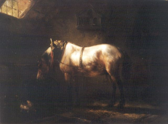 Wouterus Verschuur | Stable mates, oil on panel, 16.2 x 21.6 cm, signed c.l. and dated 1847