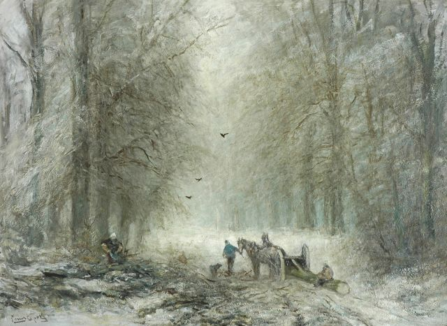 Louis Apol | Timber sled in the forest of The Hague, oil on canvas, 72.0 x 96.9 cm, signed l.l.