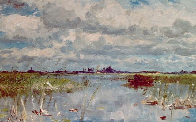 Roelofs W.  | An extensive lake landscape near Noorden, oil on canvas laid down on panel, 28.3 x 45.1 cm, signed l.l.
