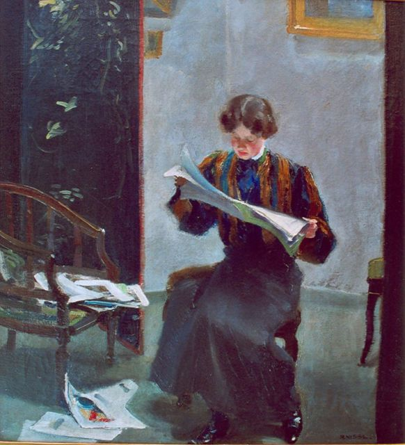 Rudolf Nissl | A young woman reading, oil on canvas, 64.3 x 61.0 cm, signed l.r. and dated 1907 on the reverse