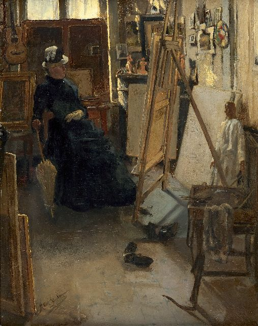 Hendrik Luyten | Interior with a lady in front of her studio easel, oil on panel, 40.2 x 32.1 cm, signed l.l. and dated '84