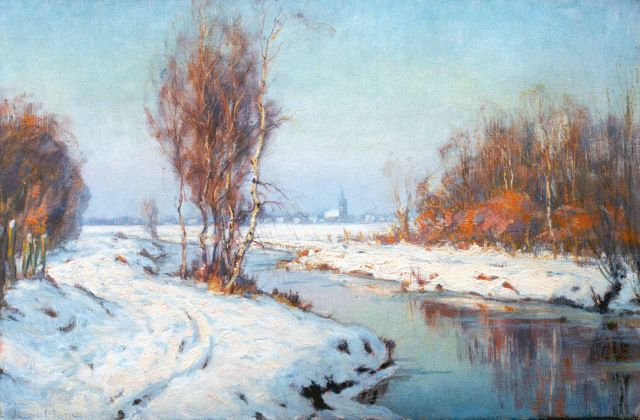 Johan Meijer | A winter landscape, Blaricum, oil on canvas, 40.5 x 61.0 cm, signed l.l. and on the reverse