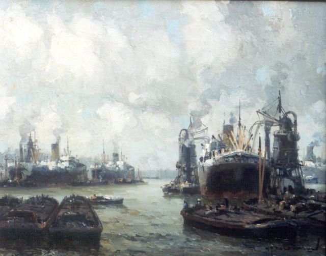 Gerard Delfgaauw | The harbour of Rotterdam, oil on canvas, 40.5 x 50.5 cm, signed l.r.