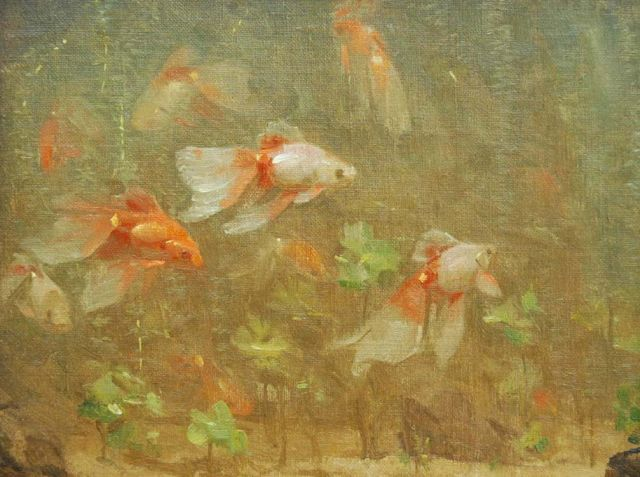 Gerrit Willem Dijsselhof | Veil-tail fish, oil on canvas, 18.7 x 24.3 cm, signed l.l. with monogram