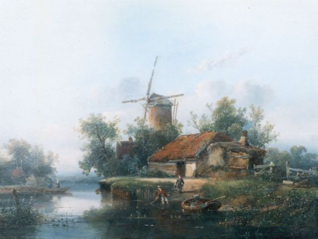 Antonie Franciscus Dona | A river landscape, oil on panel, 31.3 x 42.0 cm, signed l.r. and dated 1852